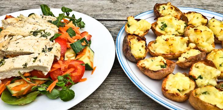 Crispy Potato Skins with Chicken, Orange and Mint Salad