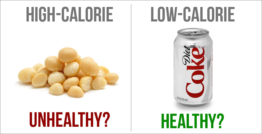 Low calorie vs healthy food