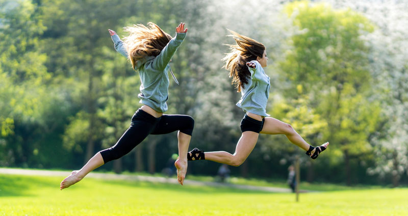 Flexible Dieting Girls Jumping