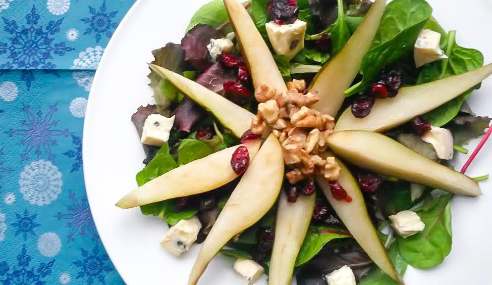 Roasted Pear, Cranberry & Walnut Festive Salad