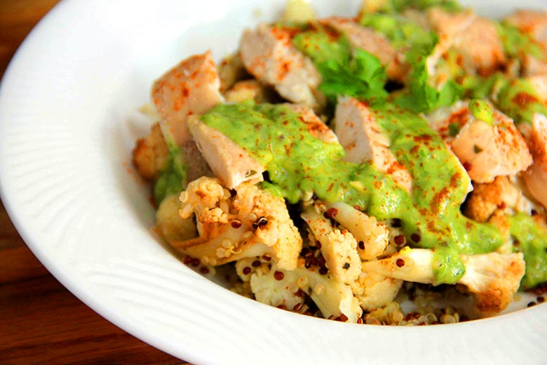 Chicken Over Quinoa and Roasted Cauliflower with Avocado Drizzle