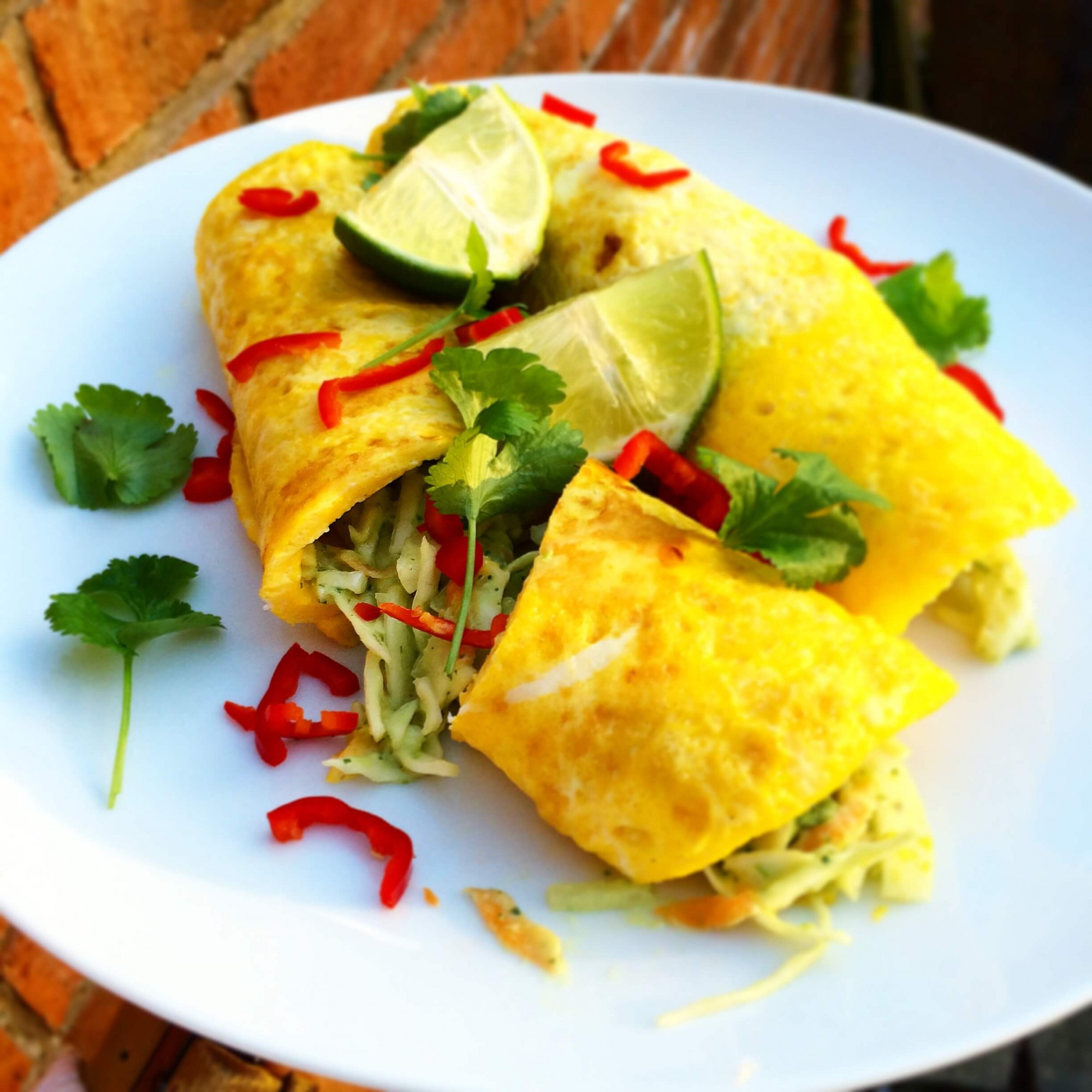 Mexican Omelette with Smokey Chicken and Tangy Slaw