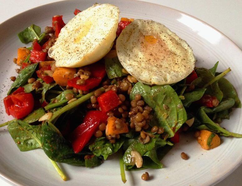 Hot n Fruity Spinach Lentil and Egg Salad