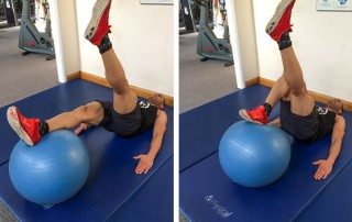 Single-leg swiss ball curl